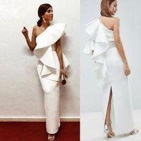 Wholesale plus size formal trumpet for sale - Group buy Elegant White Satin Evening Dress Ruffles One Shoulder Ankle Length Back Split Long Saudi Arabic Prom Formal Party Dresses Robe De Soiree