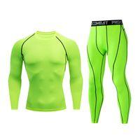 farbe schnell großhandel-Herren Gym T-Shirt Shirt Schnell trocknendes Kompressionsset Herren Laufset Fitness Skinny Sports MMA Solid Color