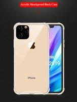 quadro transparente do iphone venda por atacado-Para iPhone 11 Pro Max XR Nota 10 Pro transparente à prova de choque Acrílico híbrido Quadro Armadura Bumper macio TPU PC Hard Case Voltar