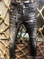 ingrosso jeans plaid patchwork-Modelli di esplosione di tessuto micro-elastico europea e americana moda strada marchio d2 jeans qualità degli uomini lavare l'ultimo disegno pick-up
