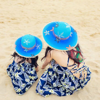 Wholesale painting baby girl resale online - Summer Hand Painted Parent child Straw hats baby girls sun hat Mom daughter beach Straw Hats H35