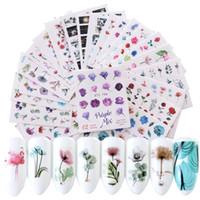 blumen blatt muster großhandel-24 Blätter / sets Nagel Wasser Aufkleber Blume Flamingo Schönheit Slider Bloom Bunte Pflanzenmuster 3D Maniküre Aufkleber