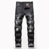 ingrosso guarda i jeans-2019 DHL Da uomo Look alla moda Super Comfort dritto-Fit Jean skinny slim fit strappato angosciato jeans stretch pantaloni 4 colori