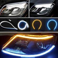 luz de conducción diurna flexible led al por mayor-2 Unids 60 CM LED Tira de Luz Coche DRL Luz Corriente Diurna Señal de Giro Tubo Flexible