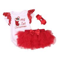 mavi yılbaşı kostümleri toptan satış-Yeni Noel Bebek Kostümleri Bez Bebek Yürüyor Bebek Kız Benim İlk Noel Kıyafetleri Yenidoğan Noel Romper Seti Festivali Giyim Y190515