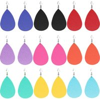 Wholesale bright color earring resale online - Hot Selling Bright Color Pu Leather Big Water Drop Dangle Earrings Bohemia Statement Big TearDrop Pu Leather Earrings Jewelry