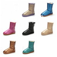 Wholesale long toes shoes resale online - UG Brand Women Snow Boots Australian Style Metallic Color Cow Leather Middle Knee Long Boots Ladies Waterproof Warm Winter Shoes C101508