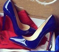 suela de goma tacones altos al por mayor-Tacones altos para damas estilo Kate 8 cm 10 cm 12 cm tacones altos suelas rojas cuero nude dedos en punta zapatos de boda de goma