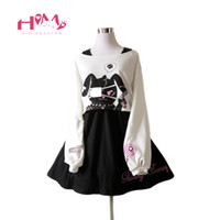 conejo negro corto al por mayor-Negro Comic Rabbit Dress Teens Girls 2 Pcs Traje de algodón dulce corto lindo Bunny Imprimir manga larga vestido japonés Lolita T3190612