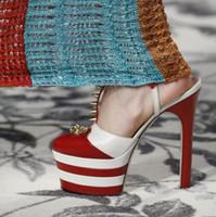sapatos de plataforma listrada vermelha venda por atacado-Moda pista Mulheres Listrado Metálico Sapatos de Salto Alto Bombas Plataforma Cravado Gladiador Sandálias Sapatos de Casamento de Baile Vermelho Azul Preto Ouro plus size 43