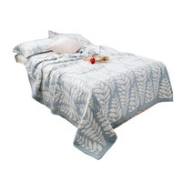 hilo de la colcha al por mayor-2019 Hilo azul manta toalla mantas Bohemia Style 150 * 200 cm edredones de cama edredón fino oreja de trigo gasa cama edredón aliento libremente