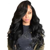 brazillian bakire yapışkan olmayan tam dantel peruk toptan satış-En iyi Dantel Ön İnsan Saç Peruk Tutkalsız Tam Dantel Peruk 100% Brazillian Virgin İnsan Saç Siyah Kadınlar Için Vücut Dalga Dalgalı Peruk