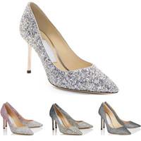 parti için yüksek topuklu ayakkabılar toptan satış-jimmy choo shoes  Romy Moda Lüks 8 10 12 CM Elbise Ofis Parti Düğün Kristal Ayakkabı boyutu 36-42 Ile kutusu