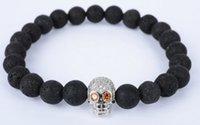 pulseiras de ouro buda venda por atacado-8mm yh443 prata ouro crânio de cobre micro pavimentar zircão cz zircônia cúbica Pulseira preta vulcânica pedra de lava Buddha Yoga Pulseiras