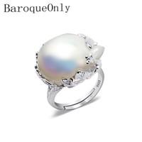 barocke ringe großhandel-Baroqueonly 925 Silber Ring 15-22mm Große Größe Barock Unregelmäßige Perle Ring, Frauen Geschenke J 190430