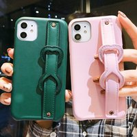 Wholesale leather wrist phone holder for sale - Group buy Simple Wrist Strap leather Phone Case For iphone Pro XR X XS Max S Plus Luxury leather love heart Holder Back Cover
