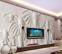 Wholesale mediterranean style bedding resale online - Custom Photo Wallpaper D Stereo Large Murals Embossed white elephant living room sofa bed bedroom flash silver cloth wallpaper