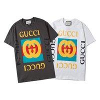 impressões chiques top venda por atacado-Mens Womens Moda Unissex T-shirt curto da luva do Tops Casual 2 cores impressão Dark Gray Branco Estilo Chic B103872Z
