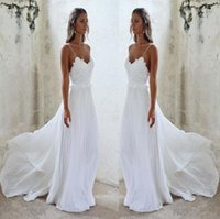 Wholesale wedding dress pleated chiffon skirt for sale - Group buy Elegant Beach Boho Wedding Dress With Spaghetti straps Applique Lace Chiffon Sweep Train Beaded Bridal Wedding Gowns Cheap