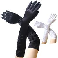 schwarze sexy handschuhe großhandel-1 Para New Fashion Damen Ellenbogen Länge Handschuhe Sexy Schwarz Weiß Lange Satin Stretch Handschuhe für Damen Mädchen Hand ZY9006