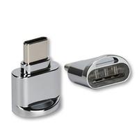 iphone için hafıza kartı toptan satış-USB 3.1 Tip C Mikro Hafıza Kartı Okuyucu OTG Çinko Alaşım Adaptörü Android Samsung Not7 Için Ipad Macbook Dizüstü Perakende paket