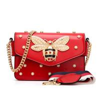 Wholesale rhinestone handbag sales for sale - Group buy Hot Sale Designer Women Handbag Lovely Rhinestone Chain Bag Elegant Woman Bee Pearl Decorative Leather Shoulder Bags Women Small Square Bags