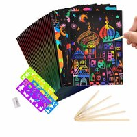 Wholesale drawing paper art for sale - Group buy 50 Sheets Magic Color Rainbow Scratch Art Paper Card Set with Graffiti Stencil Drawing Rulers Pencil Sharpener DIY Painting Y200428