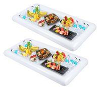 ingrosso serve cibo-2 pezzi Gonfiabili Bar di servizio Insalate Vassoio di ghiaccio Contenitori per bevande alimentari - BBQ Picnic Pool Forniture per feste Raffreddatore a buffet Luau, con tappo di scarico