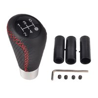 Wholesale black leather shift knob for sale - Group buy 5 Speed Black Red Line Leather Aluminum Manual Car Gear Shift Knob Shifter Lever