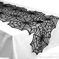 ingrosso pizzo web-Lace Spider Halloween Tovaglia casa Decorazione della tavola nera Web Tovaglia Camino Sciarpa creativo Tovaglia Partito coperchio Decor BH2408 TQQ