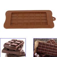 buz şekeri toptan satış-24 Izgara Kare Çikolata Kalıp silikon kalıp tatlı blok kalıp Bar Blok Buz Silikon Kek Şeker Şeker Fırında Kalıp