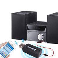 usb 3.5mm adaptör toptan satış-Toptan Taşınabilir USB Bluetooth Ses Müzik Alıcısı Kablosuz Adaptörü 3.5mm Bağlayıcı Yardımcı Araba Hoparlör