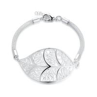 Wholesale cute big bracelets resale online - 925 Sterling Silver Bracelets for women round mesh chains with cute big leafage jewelry silver bracelets bracelet femme