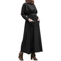 исламские платья хиджаб оптовых-Abaya UAE Turkish Islamic Malaysia pocket Pleated Muslim Hijab Dress Abayas For Women Robe Musulmane Kaftan Dubai Clothing 4.12