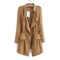 trinchera femenina al por mayor-Nuevo otoño mujer largo zanja manga completa con cordón Abrigos de cintura moda femenina casual ropa de calle tops