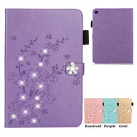 Wholesale leather folio for ipad for sale - Group buy Plum Blossom Rhinestones Leather Tablet Case for Samsung Galaxy Tab A T860 T830 T720 T590 T580 T510 T350 iPad Pro Flip Protective Cover