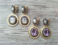 kristall pflastern perlen ohrringe großhandel-Mode wassertropfenförmige goldfarbe ebnen strass kristall ohrringe, glasperlen, perle baumeln schmuck ohrringe für frauen ER182