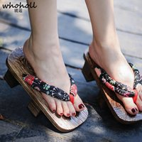 Wholesale wooden heeled shoes for sale - Group buy Whoholl Cosplay Customes Geta Female Clogs Japanese Style Women Wooden Shoes Slippers Cool Naruto Anime Flip flops Two Teeth