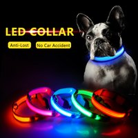 Wholesale led dog collar charge resale online - USB Charging Led Dog Collar Anti Lost Avoid Car Accident Collar For Dogs Puppies Leads LED Supplies Pet Products