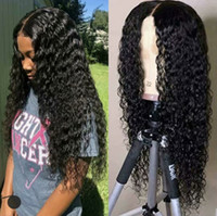 Wholesale wet wavy full lace wigs for sale - Group buy Pre Plucked Brazilian Wet and Wavy Human Hair Wigs Brazilian Water Wave density Lace Front Wigs Glueless Full Lace Wigs Bleached Knots