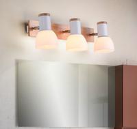 lámparas de pared espejo al por mayor-Faros de LED Inodoro Nordic Simple Dormitorio Moderno Mesilla de noche Lámpara de Tocador Espejo de Baño Gabinete con Interruptor