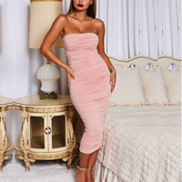 vestidos de anos novos sexy venda por atacado-Designer de Mulheres Vestido de Boate Marca 2019 Ano Novo das Mulheres Europa e América boate apertado das Mulheres Saia Longa Sexy Plissado Vestido Sling