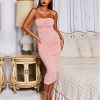 lange enge kleider für frauen großhandel-Designer Frauen Kleid Nachtclub Marke 2019 Neujahr Frauen Europa und Amerika Nachtclub engen Frauen langen Rock Sexy Plissee Sling Kleid