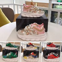 Wholesale pink shoes for children resale online - 2020 New Arrival Chain Reaction Casual Shoes For children Black White Pink Fashion Trainers Sports Designer kids Casual Sneakers