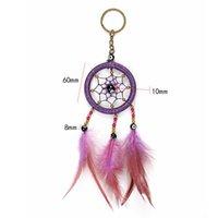 ingrosso sogni di auto-Piume fatti a mano Dreamcatcher Keychain Evil Eye Beads Portachiavi Car Bag Ciondolo Appeso Decorazione Artigianato Colorful Dream Catcher Regalo
