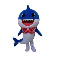 déguisements costumes personnages de dessins animés achat en gros de-Personnalisé professionnel Bébé Requin Mascot Costume de Bande Dessinée Jaune Rose Requin Baleine Caractère Mascotte Vêtements De Noël Halloween Partie Fantaisie Robe