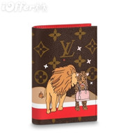 Wholesale felt credit card holder for sale - M63486 Canvas Lion Leopard Passport Cover Purse Wallet Men Women Clutch Handbag Purse Bag Brown Purse Belt Bags Mini Bags Clutches Exotics