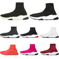 mens classic sneakers großhandel-Balenciaga Sonderangebot 2019 Geschwindigkeit Trainer Luxusmarke Schuhe rot grau schwarz weiß Flache klassische Socken Stiefel Sneakers Damen Trainer Runner Größe 36-45