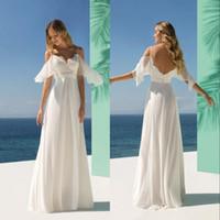 fildişi elbiseler toptan satış-Beach Gelinlik elbise de mariée Demetrios Gelinlik Fildişi şifon Spagetti Backless Pileleri Pileleri Kapalı Omuz Özel Made