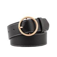 ingrosso cinture di vita in metallo per le donne-90-110x3.3cm Cinture da donna Fashion Lady Design Cintura in metallo con fibbia rotonda in metallo nero Cinturino da cintura in argento nero per le donne Jeans Cintos